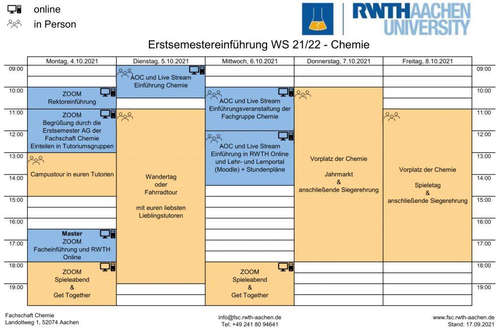 Wochenplan der Erstiwoche (Stand 17.09.)